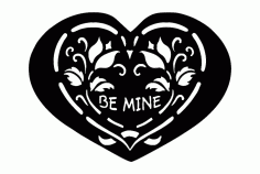 Heart Shape Be Mine Free DXF File