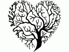 Heart Shaped Tree Silhouette Free DXF File