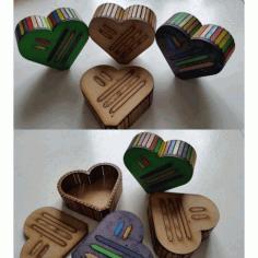 Heart Wood Box Flat Free DXF File