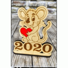 Wooden Happy New Year 2020 Mouse With Heart Free DXF File
