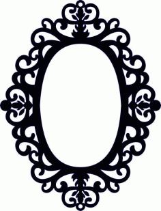 Laser Cut Wood Mirror Floral Frame Free DXF File