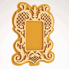 Laser Cut Wooden Mirror Frame Free DXF File