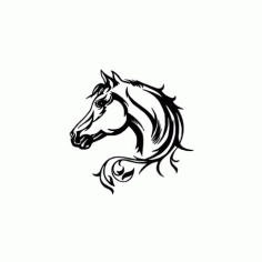 Elegant Horse Head Car Decal Free DXF File