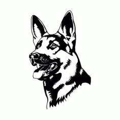 German Shepherd Coloring Page Vector Free DXF File