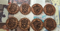 Cnc Engrave Harry Potter Drink Coasters Laser Cutter Free CDR Vectors Art