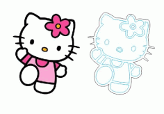 Laser Cut And Engraving Hello Kitty Cartoon Free CDR Vectors Art