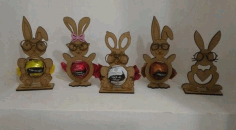 Laser Cut Easter Egg Tray Holder Stand Rabbit Free CDR Vectors Art