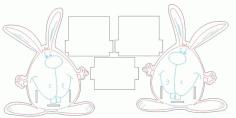 Laser Cut Pencil Holder Stand Rabbit Free CDR Vectors Art