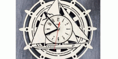 Laser Cut Wall Clock Yacht Boat Ship Free CDR Vectors Art