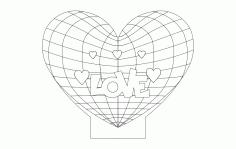 Kalp Lamp Love Heart 3d Illusion Free DXF File