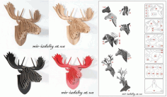 3d Puzzle Amazing Design Deer Collection Free DXF File