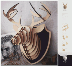 3d Puzzle Amazing Design Deer Head Free DXF File