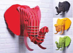 3d Puzzle Amazing Design Elephant 4 Colors Free DXF File