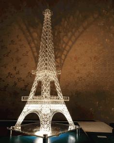 Cnc Laser Cut Design Eiffel Tower Floral Free CDR Vectors Art