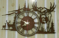 Clock Deer In The Mountains Free DXF File