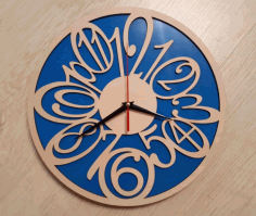Laser Cutting Wall Clock Blue Background Free DXF File