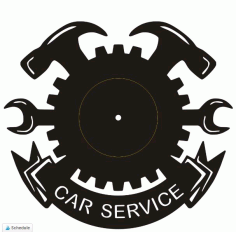 Laser Cutting Wall Clock Car Service Free DXF File