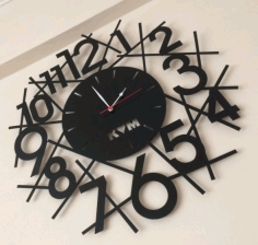 Laser Cutting Wall Clock Km Free DXF File