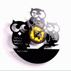 Owl Shaped Laser Cutting Clock Free DXF File
