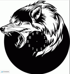 Wall Clock Wolf Shaped Free DXF File