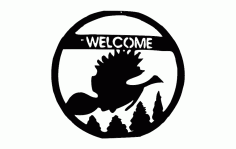 Welcome Bird Scene Free DXF File
