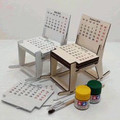 Laser Cut Cnc Project Chair Shaped Calander Free CDR Vectors Art