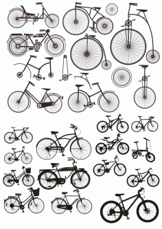 Bicycles Stickers Silhouette Free CDR Vectors Art