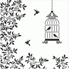 Birds Cage Floral Silhouette Free CDR Vectors Art
