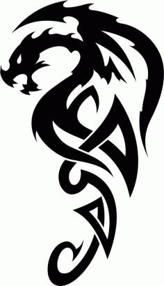 Celtic Dragon Tribal Tattoo Design Free CDR Vectors Art