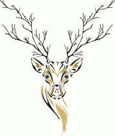 Deer Wall Decoration Deer Sketch Free CDR Vectors Art