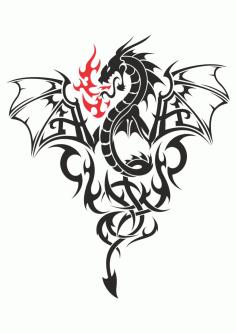 Dragon at fire Tattoo Free CDR Vectors Art