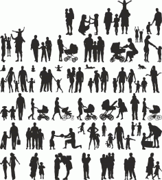 Family Members Silhouette Free CDR Vectors Art