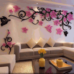 Floral Wall Decoration Design For Living Room Free CDR Vectors Art