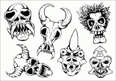 Horror Skeleton Skull Free CDR Vectors Art