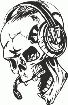 Man Skull With Headphones Sticker Free CDR Vectors Art