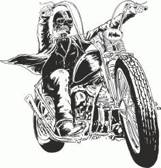 Motorcycle Man Skull Free CDR Vectors Art