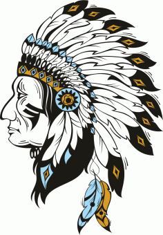 Native American Indian Chief With Headdress Free CDR Vectors Art