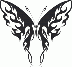 Tattoo Tribal Butterfly Silhouette Free CDR Vectors Art