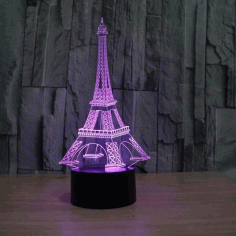 3d Illusion Led Eiffel Tower Night Light Free CDR Vectors Art