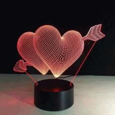3d Illusion Led Heart Night Light Free CDR Vectors Art