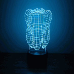 3d Illusion Led Night Light Tooth Free CDR Vectors Art