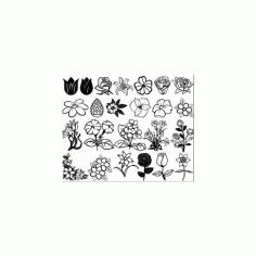 Flowers And Roses Free DXF File