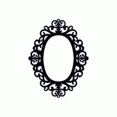 Oval Shaped Mirror Frame Free DXF File
