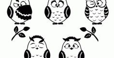Owls silhouette Free CDR Vectors Art