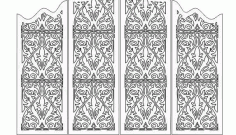Laser Cut Folding Screen Panel Grid 6 Free DXF File