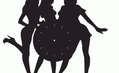 Girl Clock Silhouette Laser Cnc Cut Free DXF File