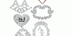 Pack Silhouettes Monogram Frame Mirror Free DXF File