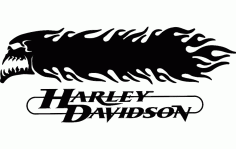 Harley Davidson Skull And Flames 3d Free DXF File