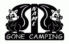 Squirrel Gone Camping Free DXF File