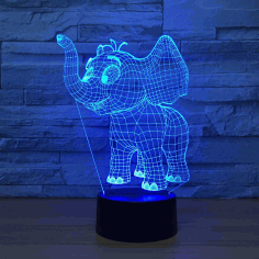 Laser Cut Baby Elephant 3d Night Light Desk Lamp 3d Optical Illusion Lamp Free DXF File